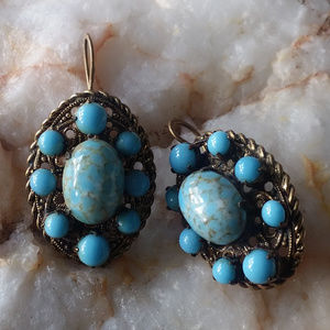Vintage Golden Earrings Turquoise